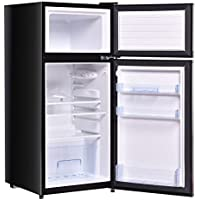 2 Doors 3.4 cu ft. Unit Cold-rolled Sheet Compact Mini Refrigerator - Black