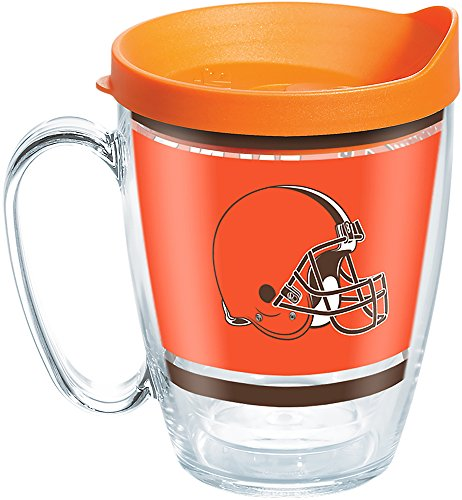 (Tervis 1257339 NFL Cleveland Browns Legend Tumbler with Wrap and Orange Lid 16oz Mug, Clear)