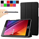 Infiland Asus Zenpad S 8.0 (Z580C/Z580CA) Case, Ultra Slim Lightweight Tri-Fold Stand Case Cover for 2015 Released ASUS ZenPad S 8 Z580C / Z580CA 8-Inch Tablet (ASUS Zenpad S 8.0 Shell, Black )