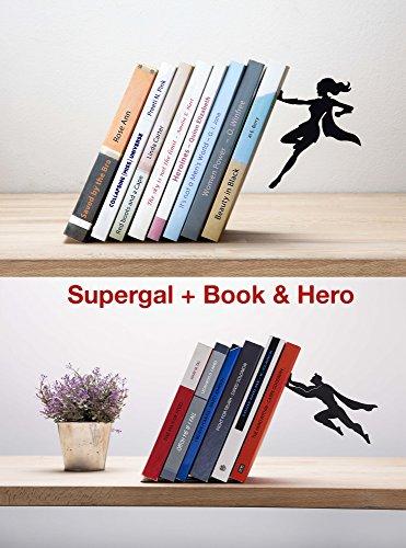 Artori Design | Supergal & Book Hero | Power Couple Bookends Gift Set | Superhero Gifts | Anniversary Gifts| Feminist Gifts | Gifts for geeks | Gifts for comic fans -