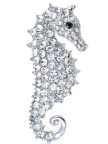 Alilang Aurora Borealis Crystal Rhinestone Seahorse Fish Convertible to Pendant Animal Brooch Pin, Clear (Nautical Charm Pin)