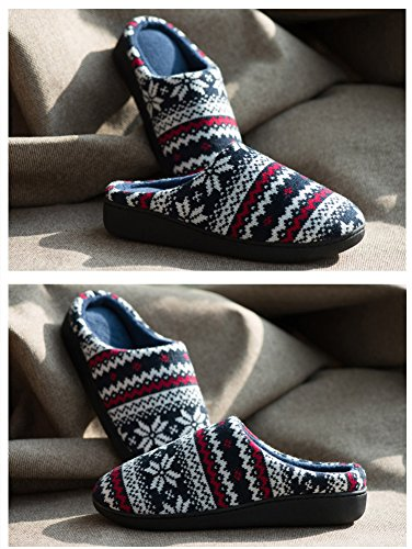 Womens/Mens Slip on Slipper Antislip Sandal Memory Foam Mules Knitted&Fleece Shoes Vintage Boho Style Maple Leaves GQDw90Q
