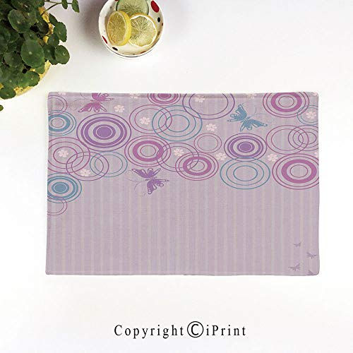 LIFEDZYLJH Heat-Resistant Placemats,Stain Resistant Anti-Skid Washable Table Mats Woven Vinyl Placemats,Abstract Soft Color Background with Lovely Summer Season Animals and Circles,Lilac Blue Pink