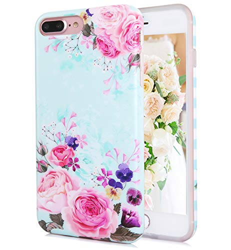 (iPhone 8 Plus iPhone 7 Plus Case Cute Matt Pink Rose Flowers Floral Blue Pattern IMD Hybrid Hard TPU Back Cover Shockproof Protective Fun Phone Cases for Women Girls[5.5