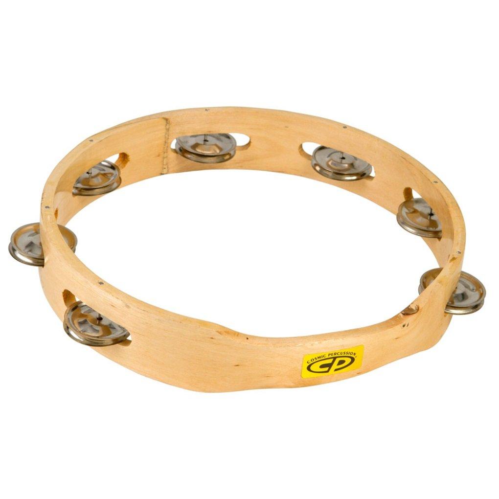 CP389 10'' Wood Tambourine, Headless, Single Row Jingles
