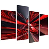 Large Red Black Abstract Canvas Wall Art Pictures - Modern Split Set of 4 Prints - Big Contemporary Multi Panel - XL - 130cm Wide