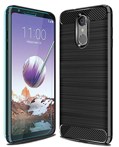 LG Stylo 4 Case with HD Screen Protector,LG Q Stylus/LG Q Stylus Plus/LG Stylus 4/LG Stylus 4 Plus Case Ucc Frosted Shield Slim Cover Carbon Fiber Design and Non-Slip Cover for LG Stylo 4 (Black) ()