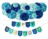 DIY Blue Birthday Decorations - Happy Bday Party Banner Sign and DIY...