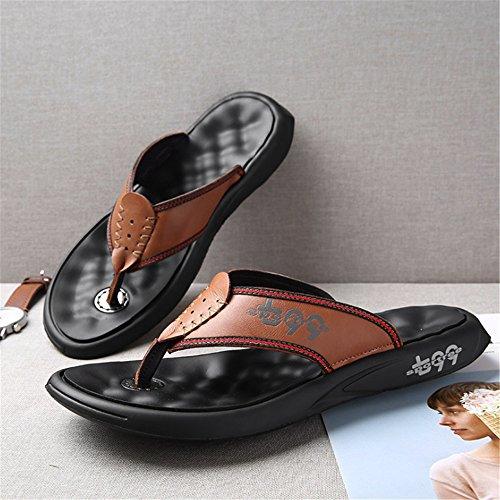 De Planas Negro Marrón tamaño Cuero 3 38 Sandalias Color Hombre Antideslizantes para Wangcui con EU Chancletas 2 Cn1Ax5gw