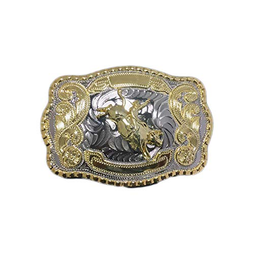 Belt Buckle Bull Riding Western Bull Rider Rodeo (Gold And Silver 2nd Design)