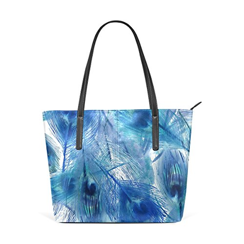 Coosun Blue Peacock Feather Bag Leather Shoulder Bags Purse And Tote Bag For Women Muticolour Medium Model