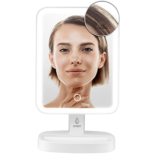Compact Makeup Mirror Double-sided LED Illuminated Cosmetic Mirror Tabletop LED Lighted Makeup Mirror Compact Mirror with Dimmable Light White (10X)