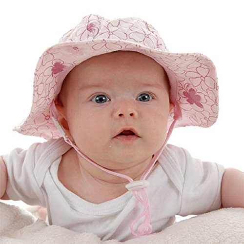 Kids Sun Hat with Chin Strap, Drawstring Adjust Head Size, Breathable 50+ UPF (L: 24m - 12Y, Cherry Blossom) (50 Cherry Blossom)