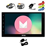 Latest Android 6.0 Car Stereo with GPS Double Din Navigation 7 Inch Full Touch Screen Vehicle Radio Head Unit Support 1080P Video No-DVD WiFi OBD2 + Wireless Backup Camera