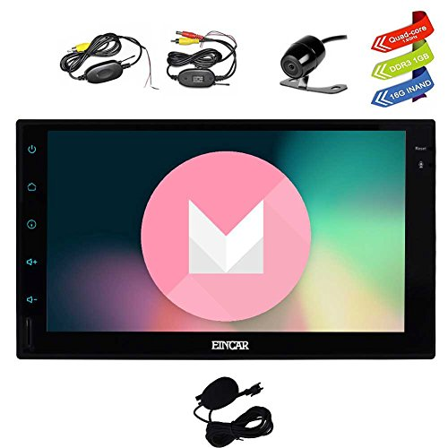 Latest Android 6.0 Car Stereo with GPS Double Din Navigation 7 Inch Full Touch Screen Vehicle Radio Head Unit Support 1080P Video No-DVD WiFi OBD2 + Wireless Backup Camera by EinCar