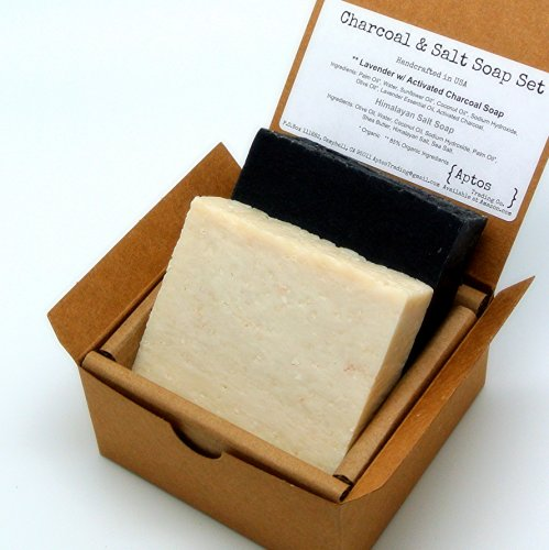 Detox Soap Set (2 Full Size Bars) – Activated Charcoal, Himalayan Salt – Natural Detoxifying FACE and BODY – Great for ACNE, ECZEMA, PSORIASIS, RASH -…