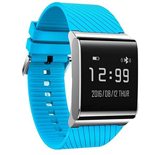 DDUWIN Intelligent Bracelet Bluetooth Wristband IP67 étanche Calorie Tracker Sport poignet Podomètre Santé Sommeil Moniteur Wristband message Call Remind Band Anti Perdu Pour Android IOS , sports blue