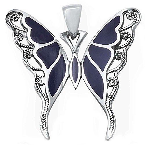 - Blue Apple Co. Filigree Swirl Butterfly Pendant Simulated Black Onyx 925 Sterling Silver (36mm)