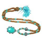Rudraksha Prayer Beads Turquoise Stone Meditation Buddha Japamala Yoga Jewelry