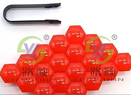 Sprovfidy, copribulloni e copridadi in plastica per auto, universali, dalla forma esagonale, diametro 17 mm, con strumento di rimozione incluso, colore: rosso SROVFIDY