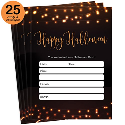 About Costumes Halloween History (Modern Halloween Party Invites & Envelopes ( Pack of 25 ) Chic Adult Rustic Farmhouse Party Large Blank 5x7