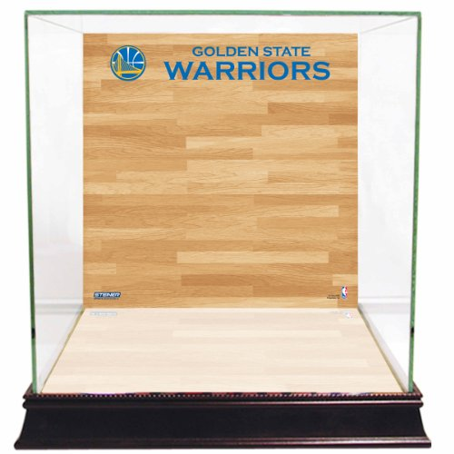 (NBA Golden State Warriors Glass Basketball Display Case with Team Logo on Court)