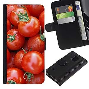 KingStore / Leather Etui en cuir / Samsung Galaxy S5 V SM-G900 / Frutas Macro Tomates cereza