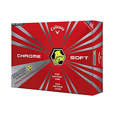 Callaway New Chrome Soft with Truvis Technology Yellow Golf Balls - 1 Dozen