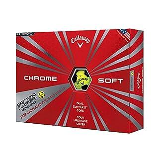 Santa Superstore Callaway New Chrome Soft con pelotas de golf amarillas con tecnología Truvis - 1 docena