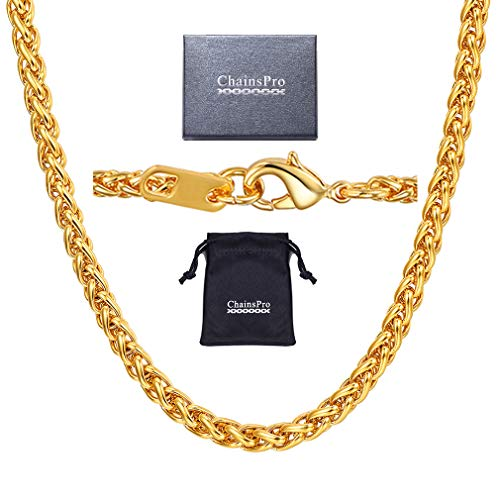 Braided Link Wheat Chain Necklace Men Necklace 18K Gold Plated Jewelry Punk Rock Biker Gift