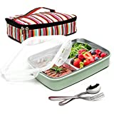 BOQUN Stainless Steel Bento Box Removable 3 Compartments Rectangular Lunch Box Leakproof Food Storage Containers with Insulated Bag and Fork Spoon Kit, Microwave Dishwasher Safe (Green)