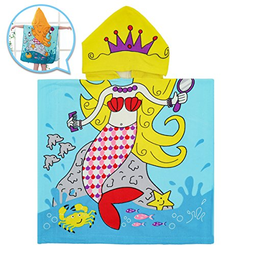 Towel Mermaid Hooded Beach - Bath Hooded Towel for Kids, OUTERDO Hooded Beach Towel Poncho for 1 to 6 Years Old Child, Ultra Soft 100% Microfiber Super Absorbent, Use for Bath/Pool/Beach/Swim, Extra Large 36