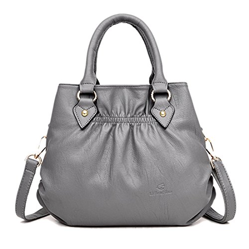 Satchel Hobo Top Main Three Grey Large Soft Handle Women Bag Leather Pouch Tote Roomy gXUffq