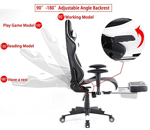 Ergonomic Gaming Chair PC Game Computer Office Chair with Footrest (White) by Top Gamer (Image #2)