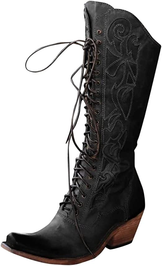 Western Cowboy Knee High Leather Boots Retro Womens Buckle Zipper Riding Shoes