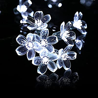 Qedertek Flower Solar String Lights, 21ft 50LED Fairy Blossom Lights for Outdoor, Home, Lawn, Garden, Patio, Party and Holiday Decorations (Cool White)