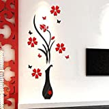 HIKO23 3D Wall Decal Vase Flower Shape Wall Murals for Living Room Bedroom Sofa TV Wall Background Originality DIY Wall Decorations