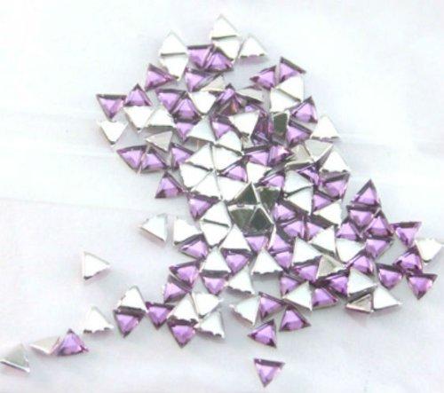 Zink Color Nail Art Acrylic Rhinestone Cool Purple Triangle 100Pc -