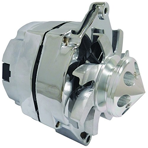 New High Output 110 AMP Chrome Plated Alternator W/Billet Custom 1 Groove Pulley Self Exciting (Low Cut In)