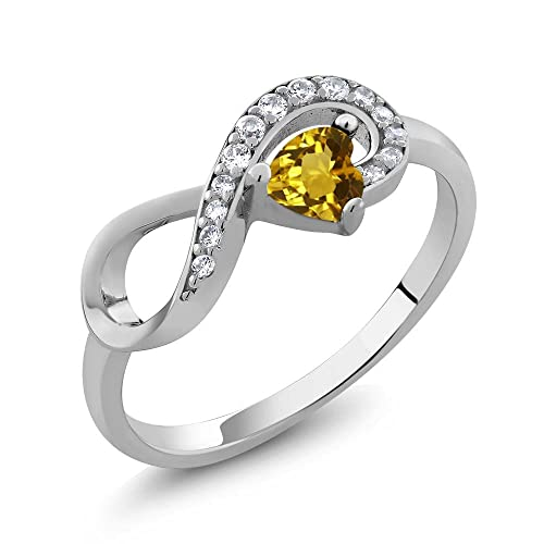 Gem Stone King 925 Sterling Silver Yellow Citrine Heart Shape Infinity Ring 0.33 Ctw Available 5,6,7,8,9