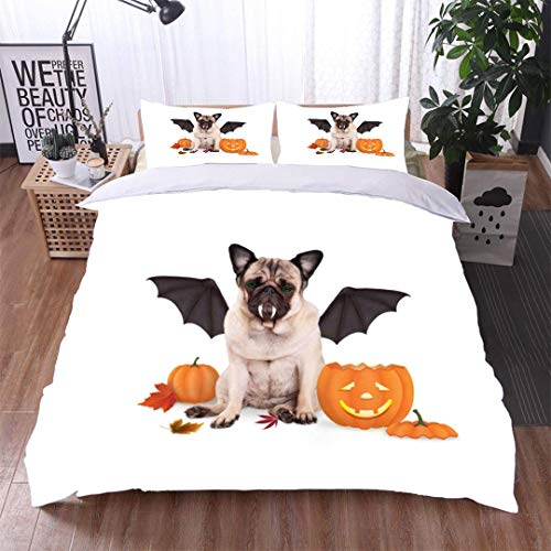 VROSELV-HOME Print Comforter Quilt Set,Pug Dog Dressed up as bat for Halloween with Funny Pumpkin Lantern,Soft,Breathable,Hypoallergenic,Bedding Sets ()