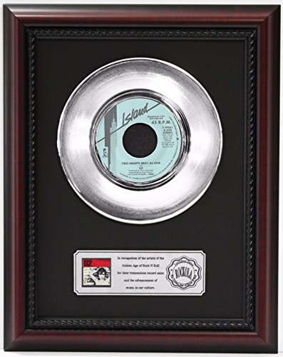 U2 TWO HEARTBEATS AS ONE PLATINUM FRAMED RECORD CHERRYWOOD DISPLAY