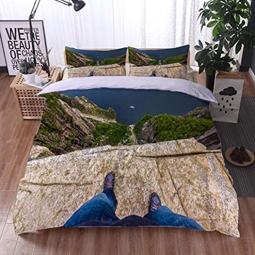 (HOOMORE Bed Comforter - 3-Piece Duvet -All Season, July 20 2015 at The Edge of The Pulpit Rock Norway,HypoallergenicDuvet-MachineWashable -Twin-Full-Queen-King-Home-Hotel -School)