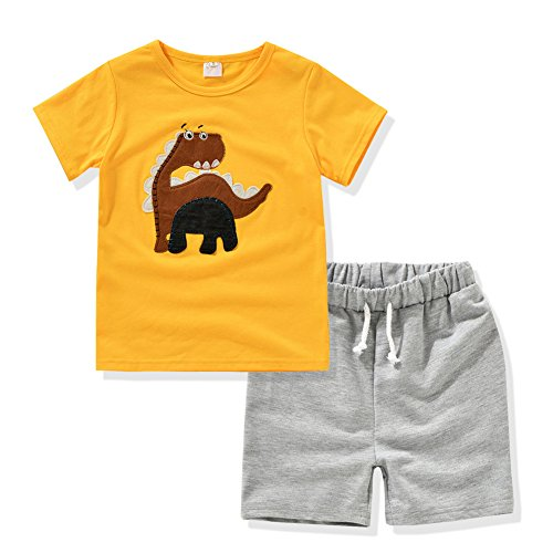 Kids Clothing Embroidered Tshirts+Shorts Sets 2 Color Outfits Suitable for2-5 Age Boys (2T, Lemon yellow) (Short Gray Skirt)