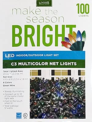 Living Solutions 100-Count Holiday Indoor/Outdoor Super Bright LED C3 Faceted Bulb 4 ft. x 6 ft. NET Christmas Light Set (Green Wire) - Energy Smart Star