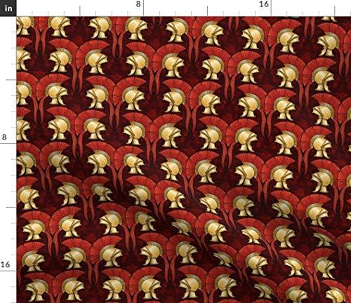 Roman Fabric - Greek Helmets Military History Spartan Trojan by Hannafate Printed on Satin Fabric by The Yard