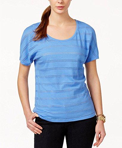 MICHAEL Michael Kors Womens Pointelle Stripe T-Shirt, Crew Blue, (Michael Michael Kors Womens Stripe Pant)