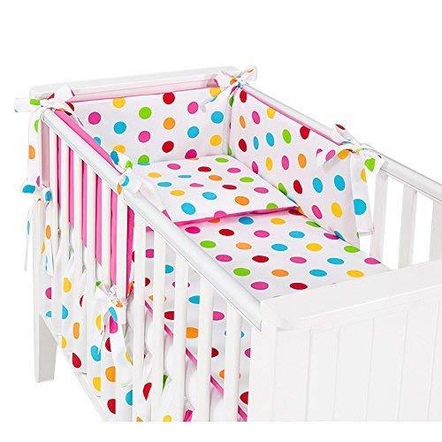 Sevira Kids - 3 Pièces linge de lit bébé avec tour de lit et parure 135x100 - Summer Fuchsia
