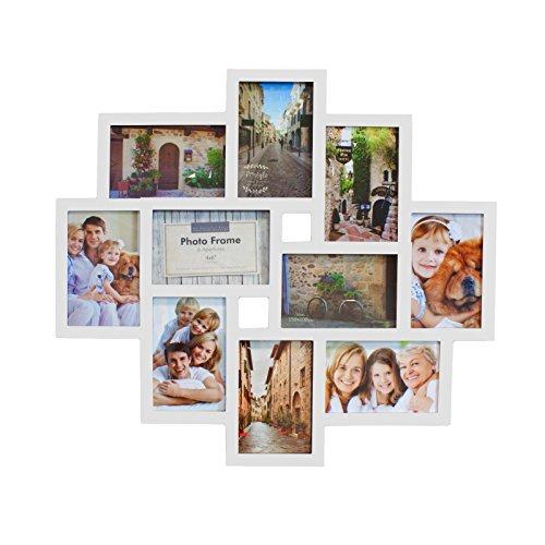Smartfox Bilderrahmen Fotorahmen Collage für 10 Bilder im Format 10x15 cm in Weiß