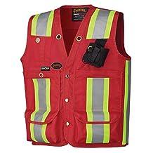 Pioneer V1010710-L Surveyor'S/Supervisor'S Vest, Red, Large